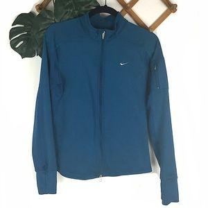 Nike Fit Dry Running Fleece Lined Blue Jacket Med